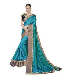 Buy Teal embroidered silk saree with blouse silk-saree online