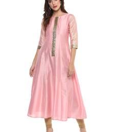 Buy Pink  dupion silk stitched kurti party-wear-kurtis online
