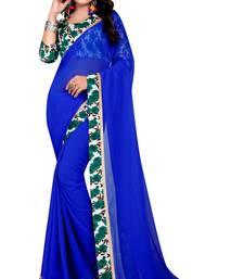 Buy Blue plain georgette saree with blouse below-1500 online