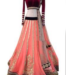Buy Peach embroidered net unstitched lehenga bollywood-lehenga online