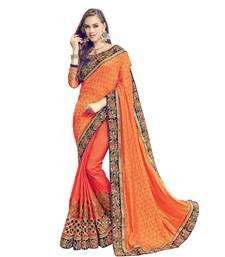 Buy Orange embroidered jacquard saree with blouse wedding-saree online