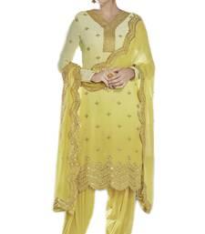 Buy Yellow embroidered georgette salwar with dupatta wedding-salwar-kameez online