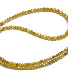 """Buy 20.00 CARAT NATURAL REAL YELLOW DIAMOND FACETED BEADS NECKLACE 16"""" gemstone-necklace online"""
