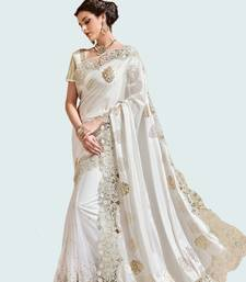 Buy Off white embroidered silk blend saree with blouse bridal-saree online
