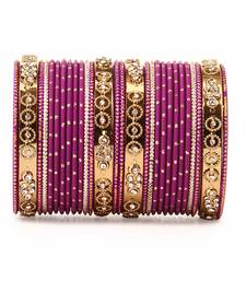 Buy Traditional Bangle Set with golden dotted bangles by Purple bangles-and-bracelet online