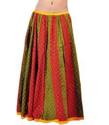 Buy Rajasthani Red Green Fine Cotton Lehanga Skirt skirt online