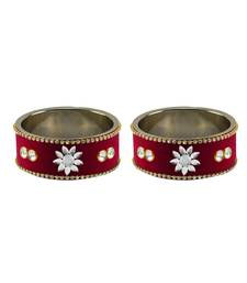 Buy Maroon Stone Stud Metal Bangle bangles-and-bracelet online