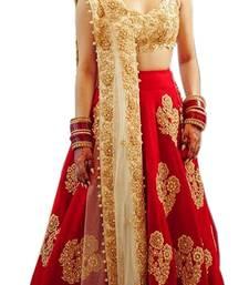 Buy Red embroidered silk unstitched lehenga lehenga-below-2000 online