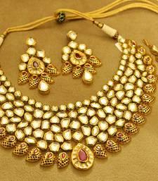 Buy Royal Uncut Kundan Meenakari Ruby Wedding Bride Necklace Set bridal-set online
