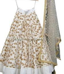 Buy White embroidered silk semi stitched lehenga with dupatta lehenga-below-2000 online