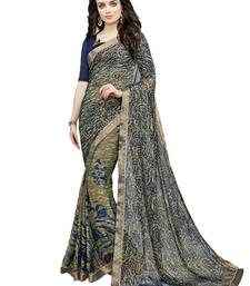 Buy Navy blue printed brasso saree with blouse brasso-saree online