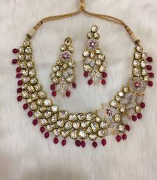 Buy Bridal look ruby and kundan necklace with matching earrings bridal-set online