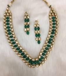Buy Bridal look emerald and polki necklace with matching earrings bridal-set online