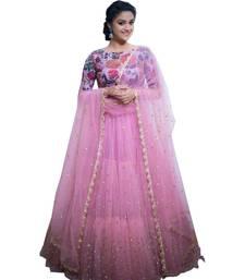 Buy Pink embroidered net unstitched lehenga lehenga-below-2000 online