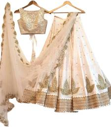 Buy White embroidered silk unstitched lehenga lehenga-below-2000 online