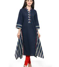 Buy Navy blue woven cotton kurtas-and-kurtis wedding-season-sale online