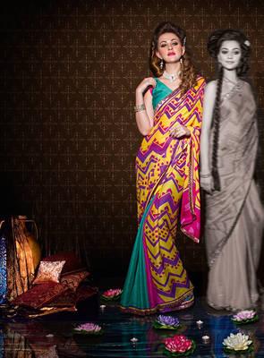 Indian Printed Satin Chiffon Sari