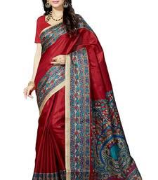 Buy Maroon printed khadi saree with blouse cotton-saree online
