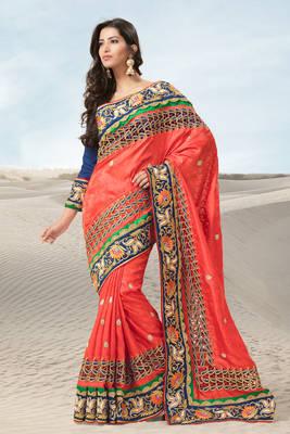 Embroidered Orange Jacquard Sari