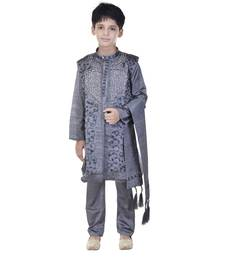 Buy Grey sequins cotton silk Sherwani and Churidar Set For Boys boys-sherwani online