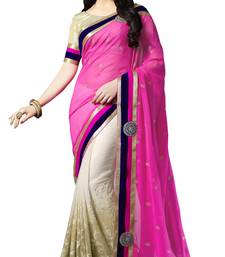 Buy Pink embroidered georgette saree with blouse brasso-saree online