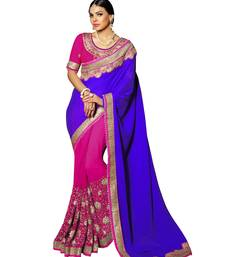 Buy Purple embroidered silk saree with blouse contemporary-saree online