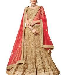 Buy Beige embroidered net unstitched lehenga with dupatta bridal-lehenga online