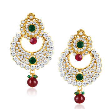 Chandbali Gold Plated Australian Diamond Earrings