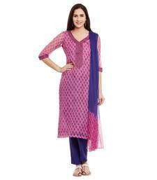 Buy Pink printed cotton salwar with dupatta dress-material online