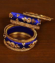 Buy Silk Thread and Zircon Stone Embellished Designer Bangle Set bangles-and-bracelet online