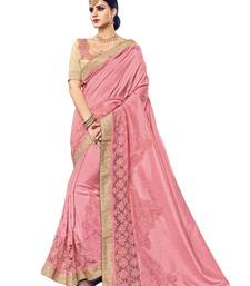 Buy Light pink embroidered silk saree with blouse gift-saree online