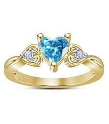 Buy Heart-shaped lab-created aquamarine  and  white cz three stone ring in sterling silver 14k rose gold plated cubic-zirconia-cz-ring online