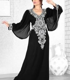 Buy Black  embroidered  faux georgette  kaftan islamic-kaftan online