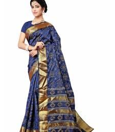 Buy Navy blue woven patola saree with blouse patola-sari online