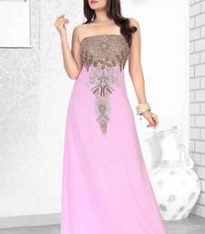 Buy baby pink embroidered faux georgette fustan fustan online