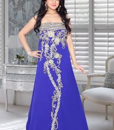 Buy Royal blue faux georgette embroidered fustan fustan online