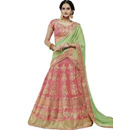 Buy Peach embroidered silk unstitched lehenga with dupatta bridal-lehenga online