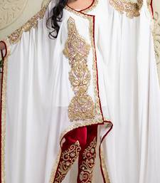 Buy Maroon and off white crepe and silk and georgette sequins and stones islamic kaftans islamic-kaftan online