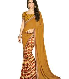 Buy Gold printed georgette saree with blouse georgette-saree online