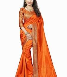 Buy Orange plain silk saree with blouse all-seasons-saree online