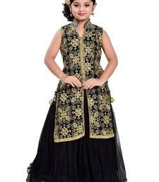Buy Black Zari Embroidery Nett Anarkali Jacket Style Indo Western ReadyMade kids Gown Kids Wear kids-girl-gown online