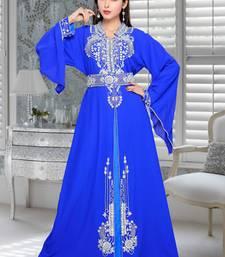 Buy royal blue embroidered faux georgette islamic kaftans islamic-kaftan online