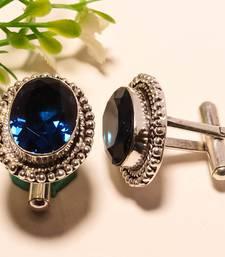 Buy Blue sapphire gemstone 925 silver cufflinks cufflink online