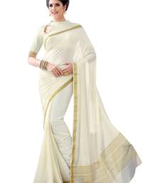 Buy Off White Printed Crepe and Silk saree with blouse crepe-saree online