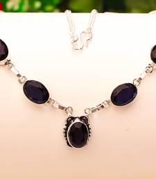 "Buy Blue sapphire gemstone 925 sterling silver jewelry necklace 16-18"" gemstone-necklace online"