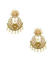 Buy Golden beige polki stones dangle and drop earrings jewellery for women Earring online