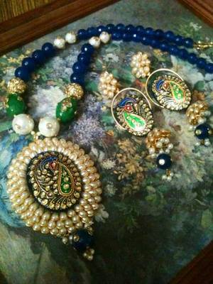 rajwadi pacchi with tanjore work set