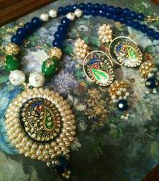 Buy rajwadi pacchi with tanjore work set eid-jewellery online