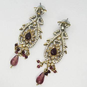 Victorian Earring Long Violet Dangler