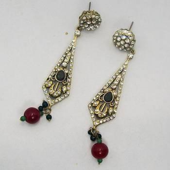 Victorian Earring Triangular Green Red